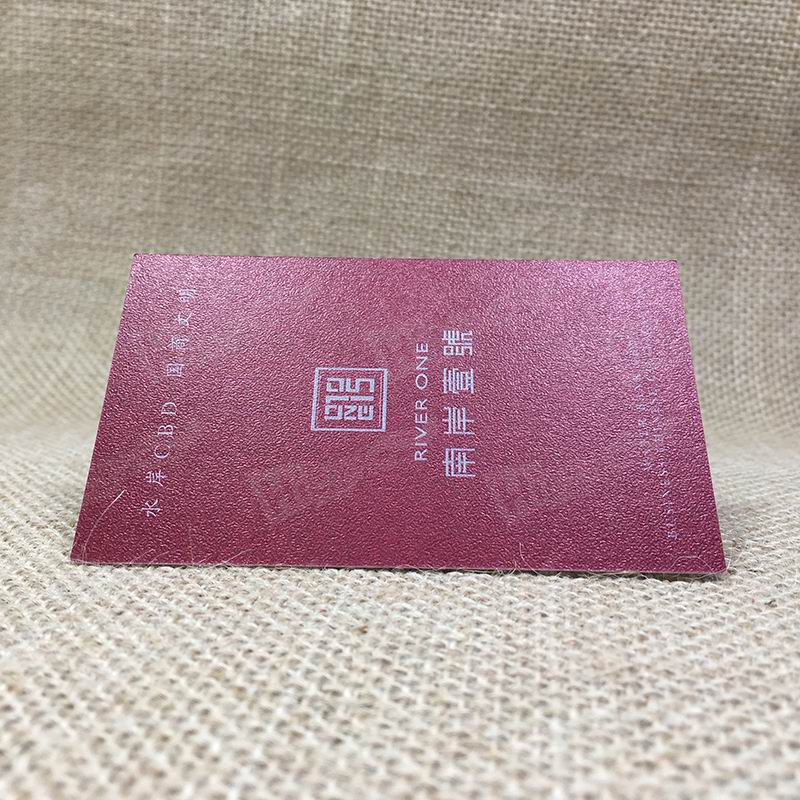 300g Leather Pattern Business Cards Printed Dark Red For Real Estate
