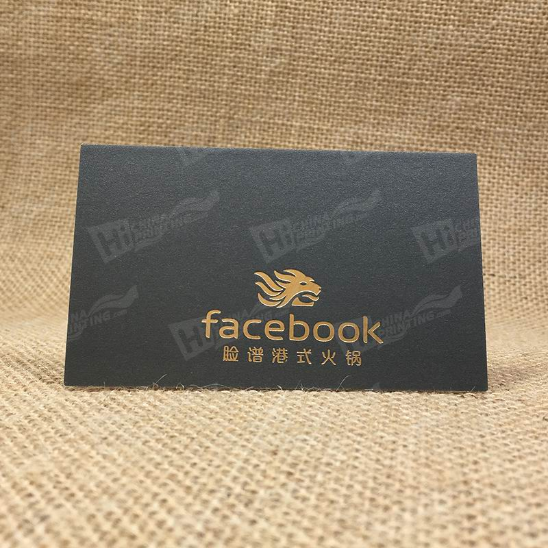 425G Cotton Paper With Gold Stamping And Embossing Business Cards For Restaurant