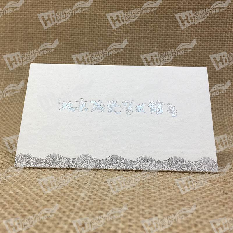 600g Cotton Paper With Silver Foil And Embossing Company Name and Black Sea Wave For Ceramic Art Studio