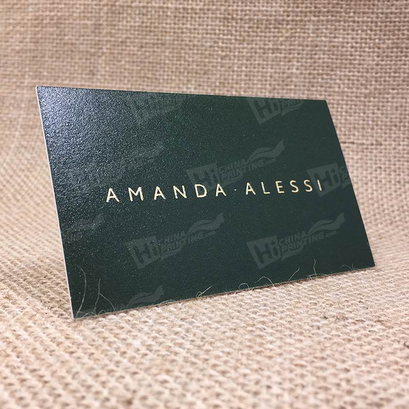 600g Paper With Gold Foil And Embossing Logo And Blackish Green Ink Printing