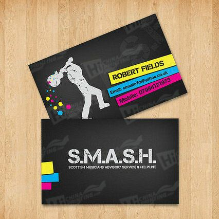 Black Business Cards with Spot Color Printing
