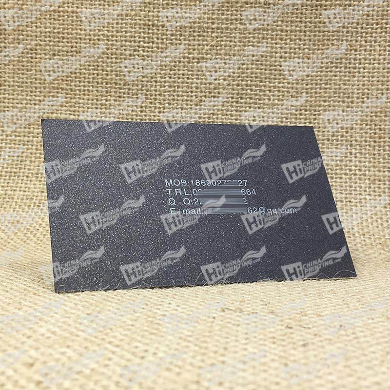250g Curious Metallics Metal Business Cards-Black Paper with White Ink Printing