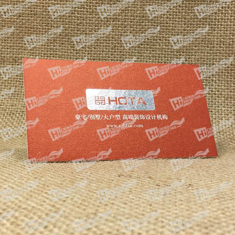 250g Curious Metallics Metal Business Cards-Silver Stamping With White Ink Printing on Orange Color Paper