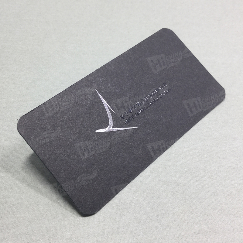 Silver Printing On Black Cards With Raised Letters Rounded Business