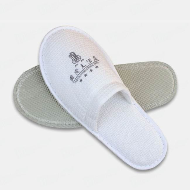 Waffle Slippers With Embroidered Hotel Logo