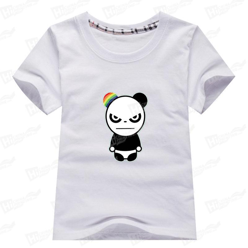 Angry Panda Heat Transfer Printed Kids' Short-Sleeve T-shirts For Wholesale