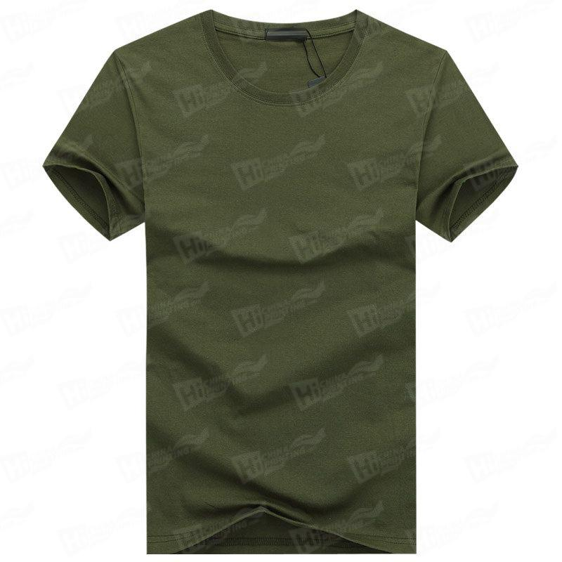 Blank Men's Short-Sleeve T-shirts Stock For WholeSale--Army Green T-Shirts