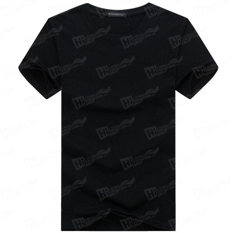 Blank Men's Short-Sleeve T-shirts Stock For WholeSale--Black T-Shirts