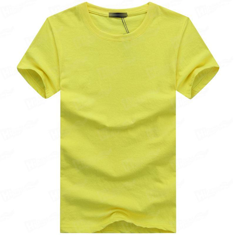 Blank Men's Short-Sleeve T-shirts Stock For WholeSale--Bright Yellow T-Shirts