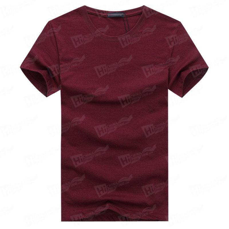 Blank Men's Short-Sleeve T-shirts Stock For WholeSale--Claret T-Shirts