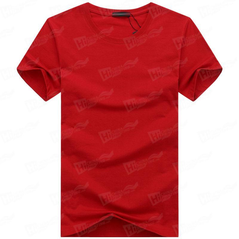 Blank Men's Short-Sleeve T-shirts Stock For WholeSale--Red T-Shirts