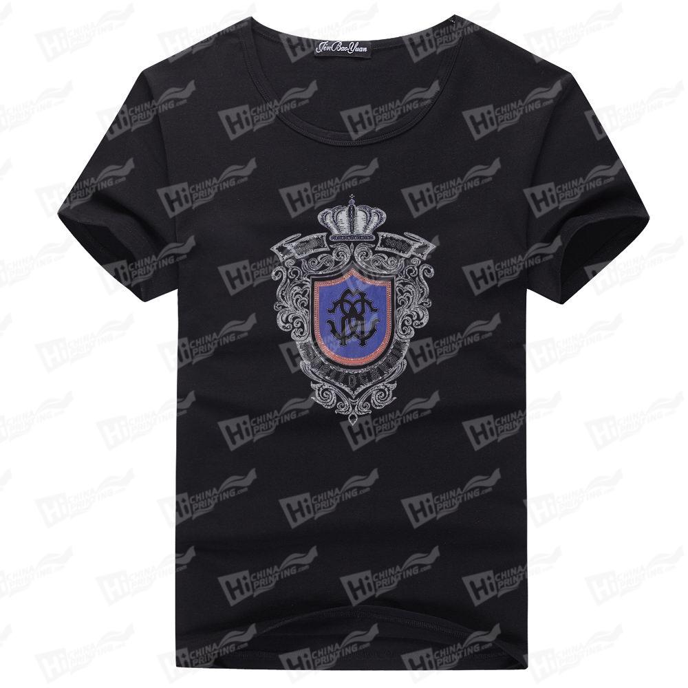 Crown Heat Transfer Printed-200g Men's Lycra T-Shirts For Wholesale