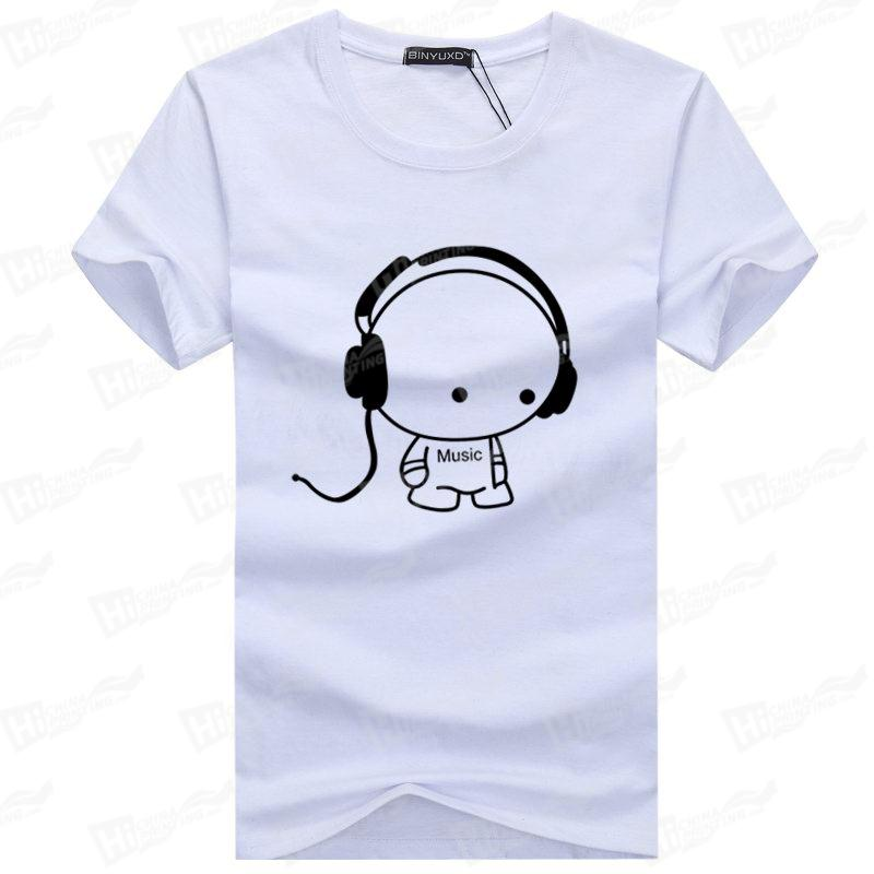 Cute Dog With Headphone-Screen Printing T-shirts Stock For Wholesale