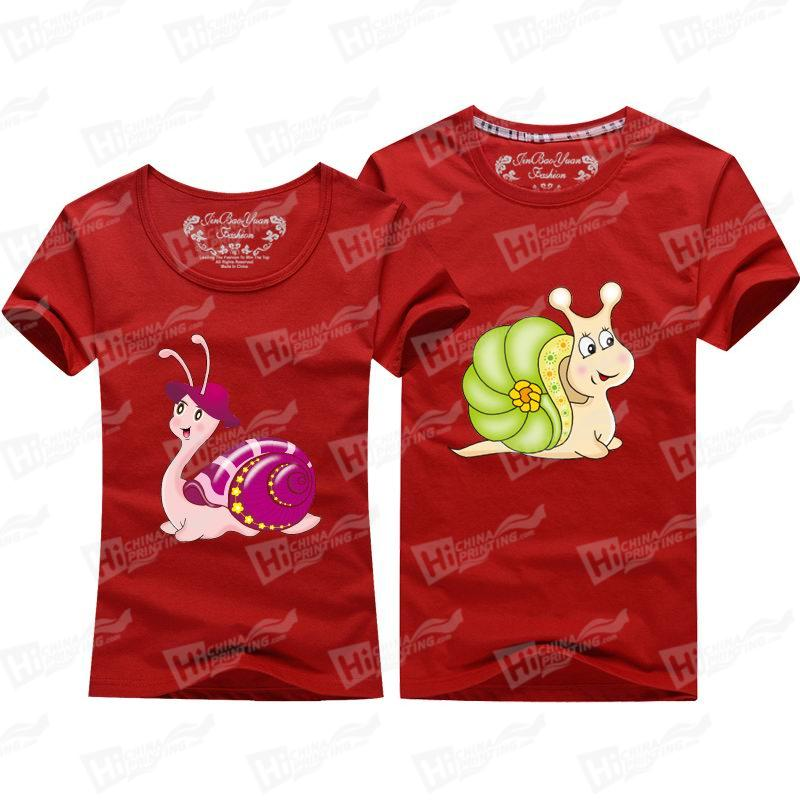 Cute Snail With Lovely Hat Short-Sleeve T-shirts Printing Services For Family Couple Matching Outfits