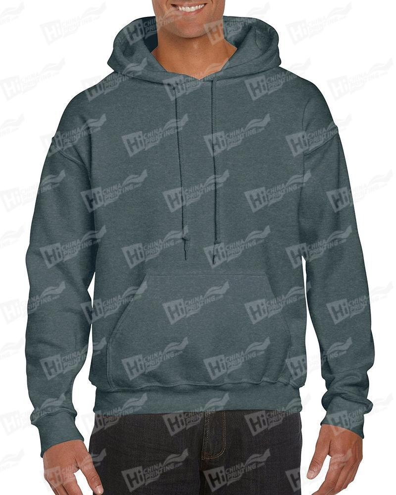 Gildan Men's Pullover Hood Sweatshirt-Heather Grey