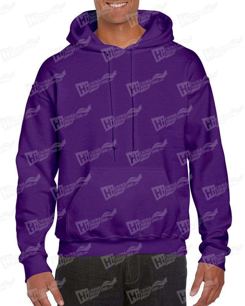 Gildan Men's Pullover Hood Sweatshirt-Purple