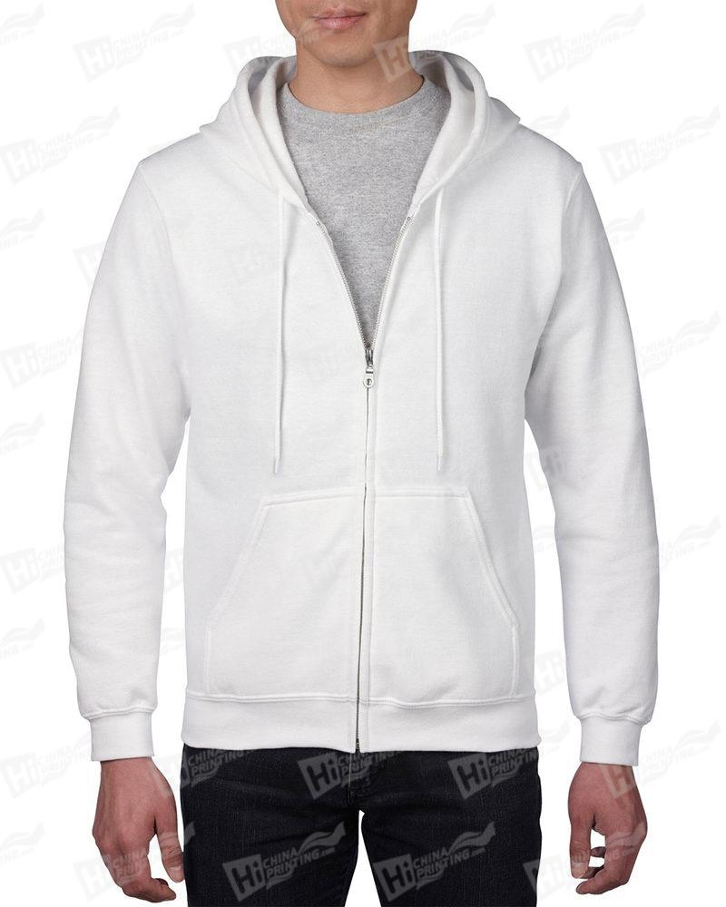 Gildan Men's Vintage Full Zip Hood Sweatshirt-White