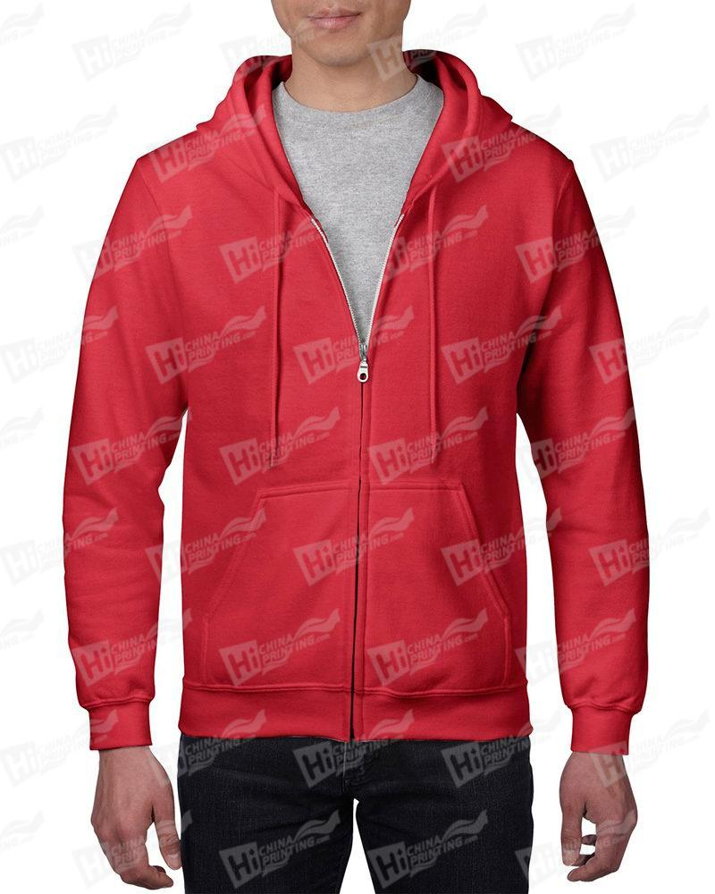 Gildan Men's Vintage Full Zip Hood Sweatshirt-Red