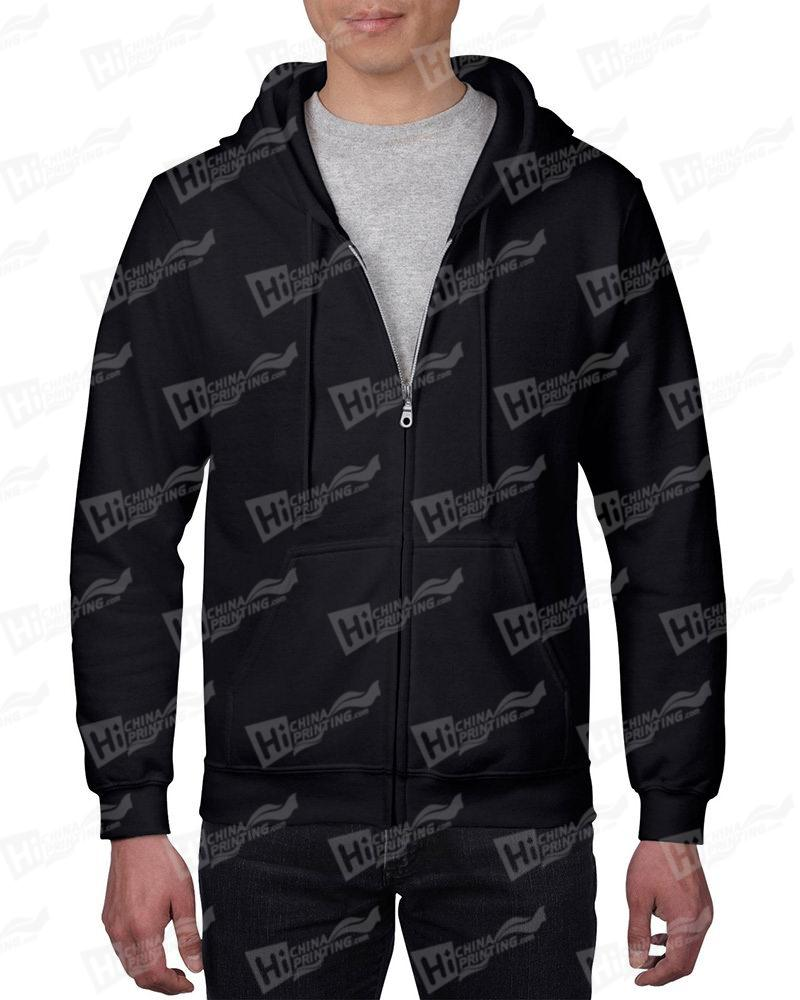 Gildan Mens Black Full-Zip Hoodie For OEM Services