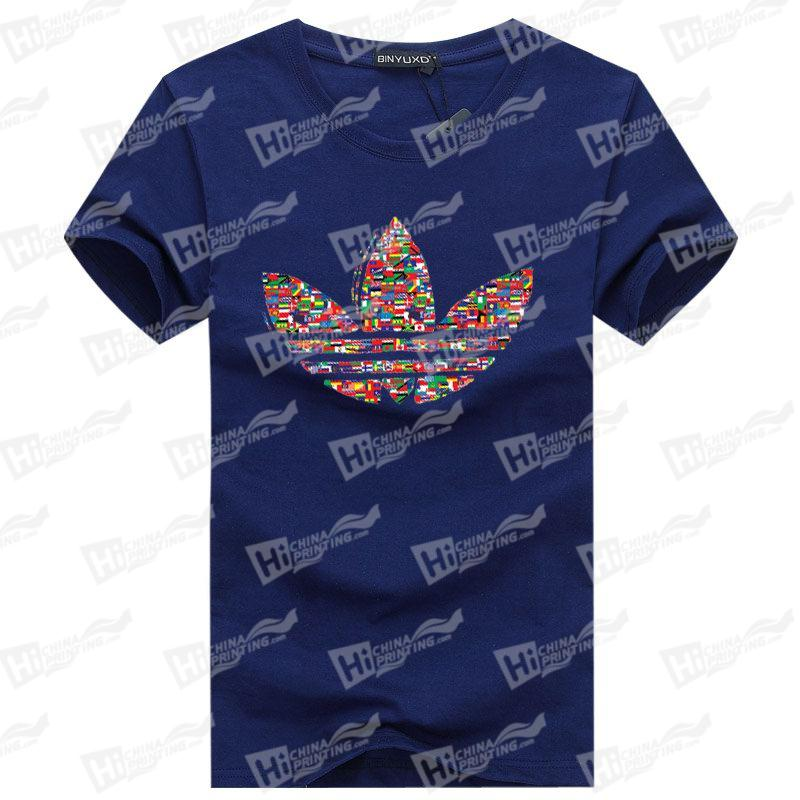 Heat Transfer Printed With Colorful Leaf Men's T-shirts For Wholesale