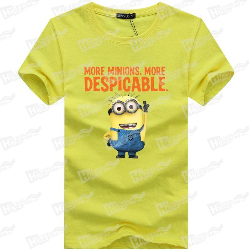Hot Style T-shirts With Minions Heat Transfer Printed For Wholesale