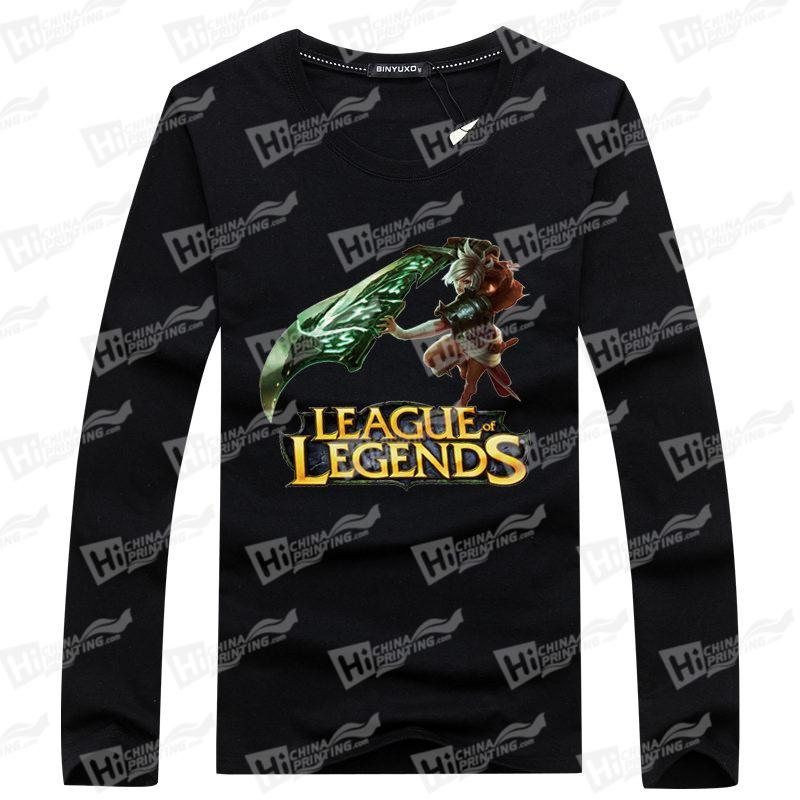 League of Legends-Custom Men's Long-Sleeve T-shirts With Online Games Charactors