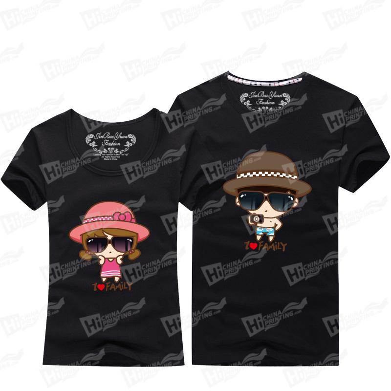 Lovely I love Family Short Sleeve T-shirts Printing For Happy Couple Family Matching Outfits