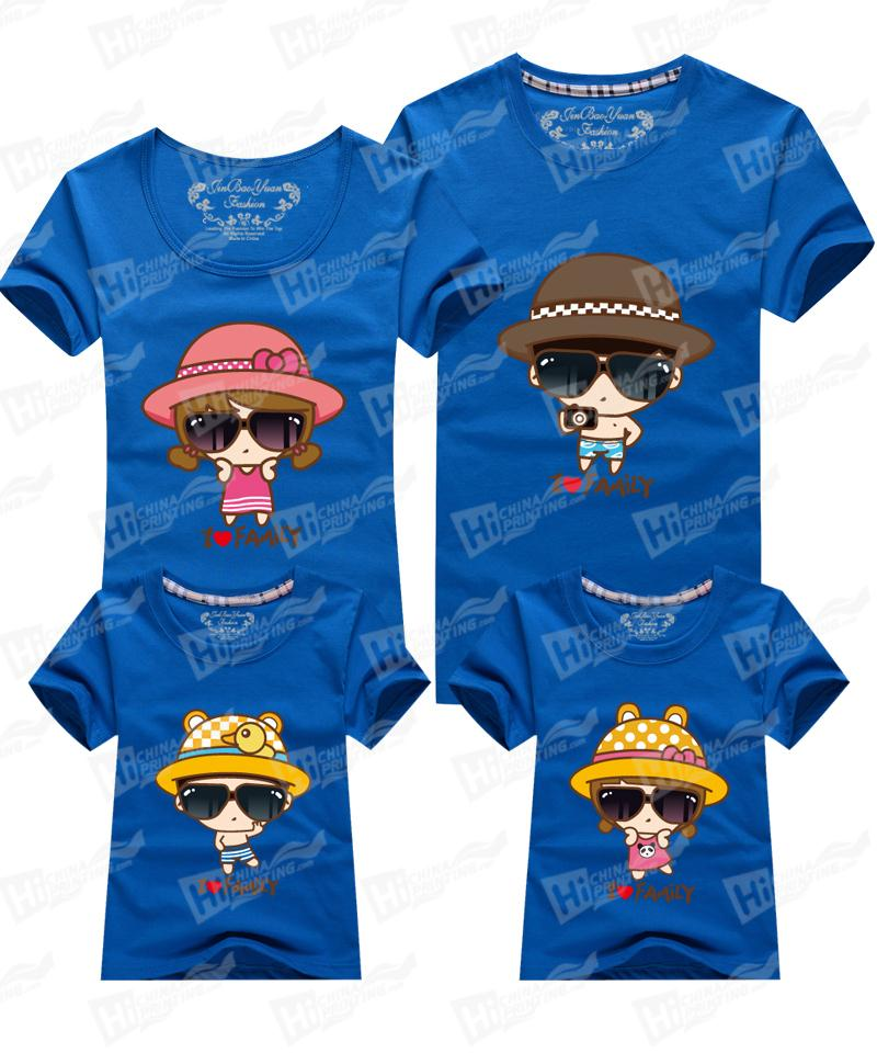 Lovely I love Family Short Sleeve T-shirts Printing For Happy Family Outfits