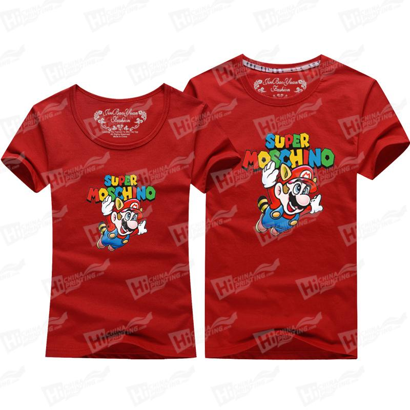 Lovers' Matching Outfits-Colorful Super Marie Printed T-shirts For Retail and Wholesale
