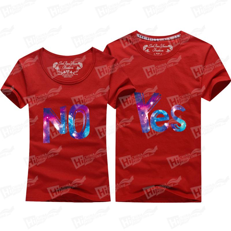 Starry Sky Couple's Matching Outfit Clothes Short-Sleeve T-shirts Printed With Yes No For Wholesale