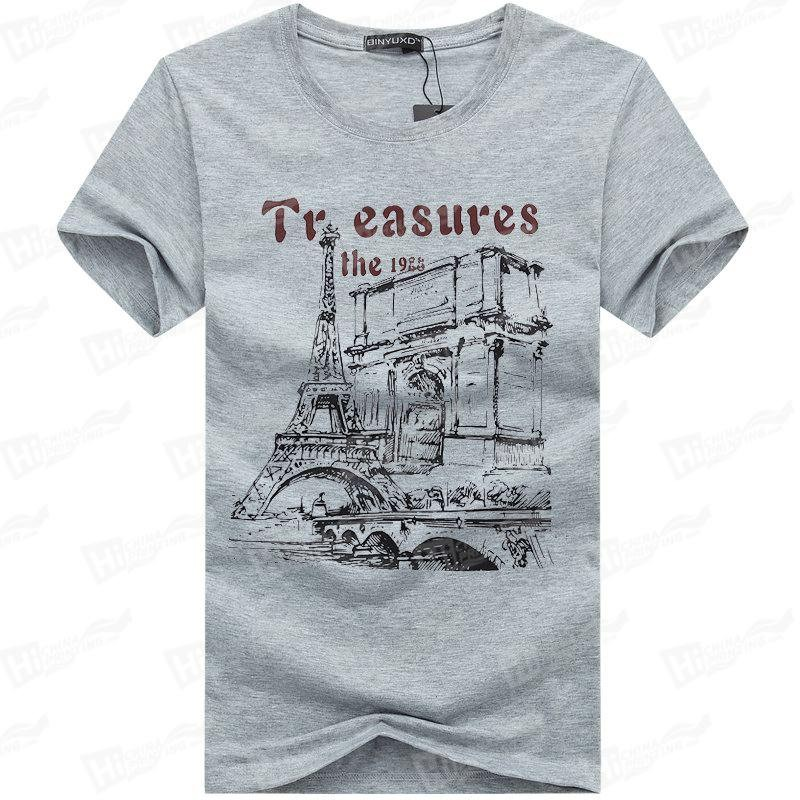 The Eiffel Tower--Screen Printed Men's Short-Sleeve Tee Shirts For Wholesale