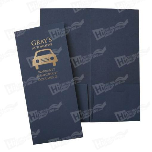 1-color Foil Imprinted Paper Presentation Folders Printing