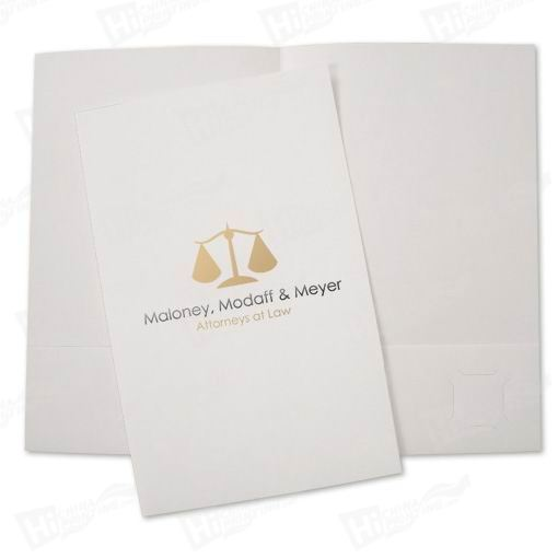 2-color Foil Imprinted Paper Presentation Folders Printing