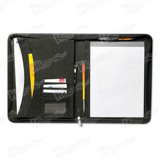Personalised Printed Zipped leather folder with A4 pad