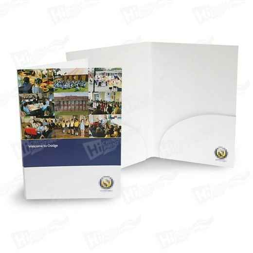 Round Style A4 2 Pocket Folders Printing With 5mm Capacity