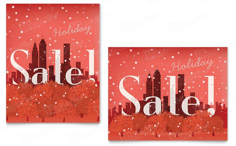 Cityscape Winter Holiday Sale Posters Printing