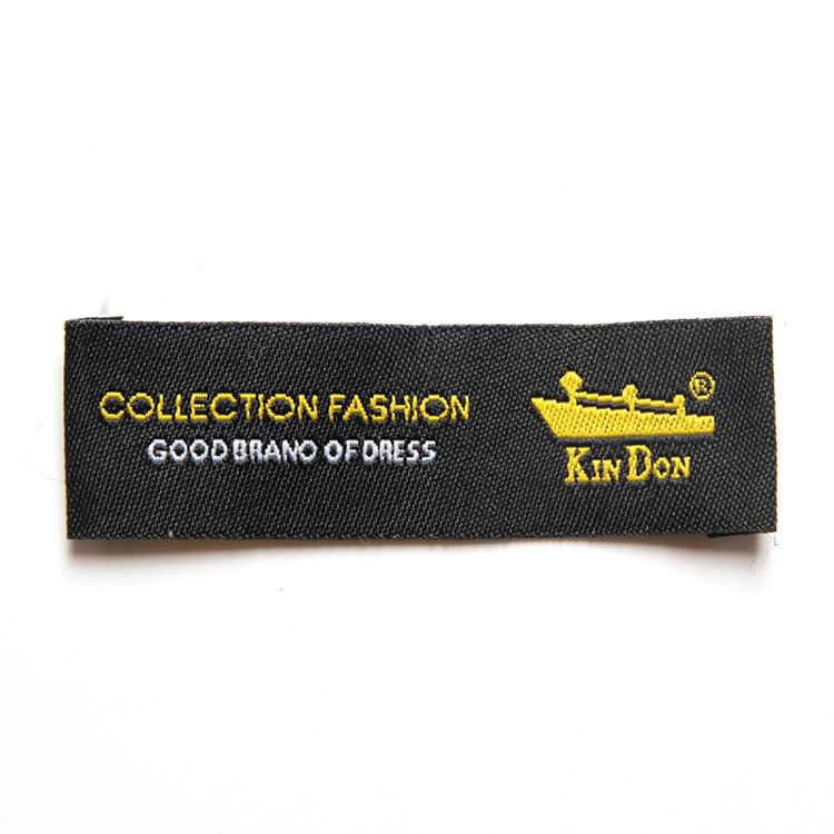 Black Damask Woven Labels With Gold And White Threads