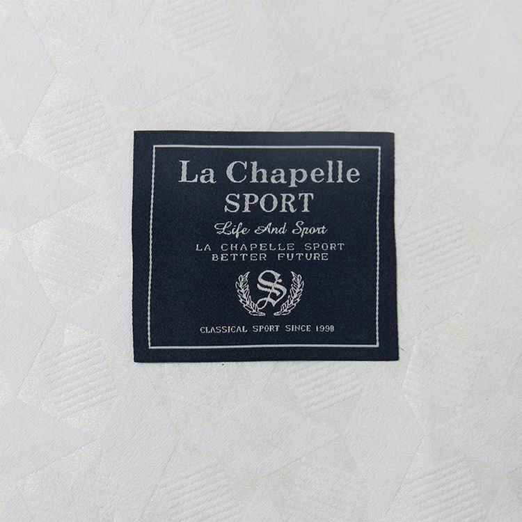 Blue Damask Woven Labels