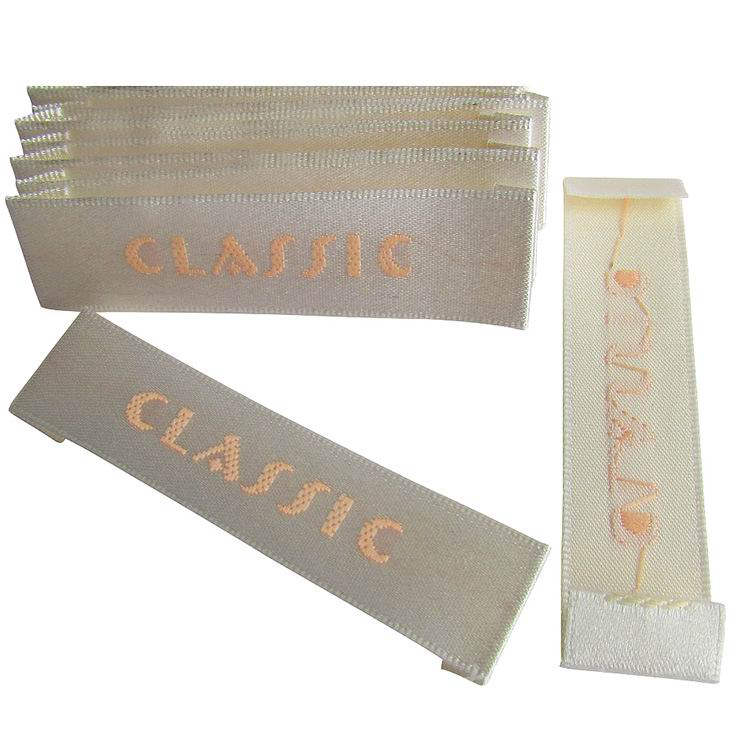 Custom Beige Satin Labels
