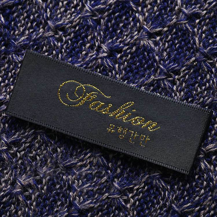 Custom Gold Onto Black Satin Woven Labels