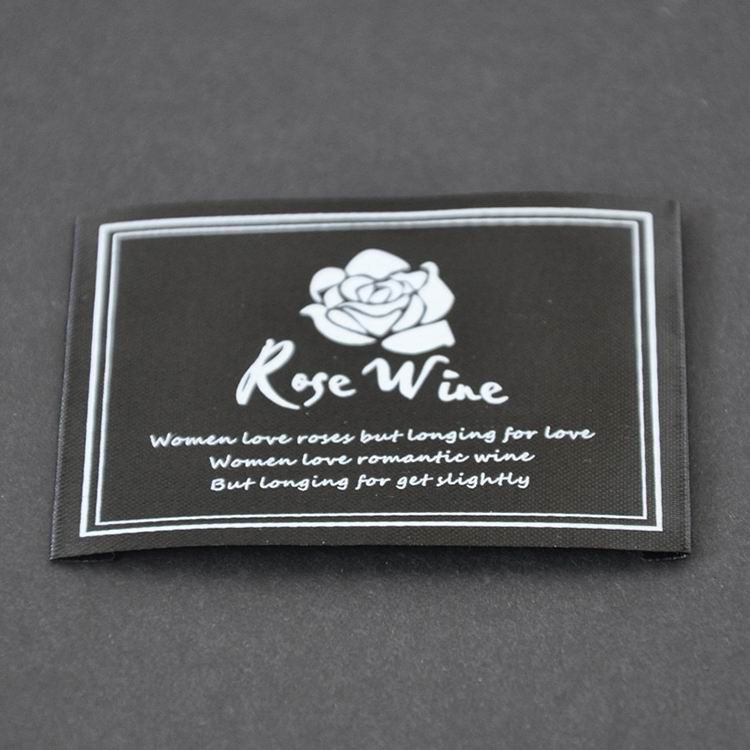 Printed Black Satin With White Ink Labels