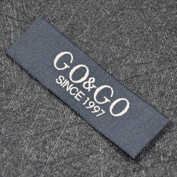White Onto Black Damask Woven Labels