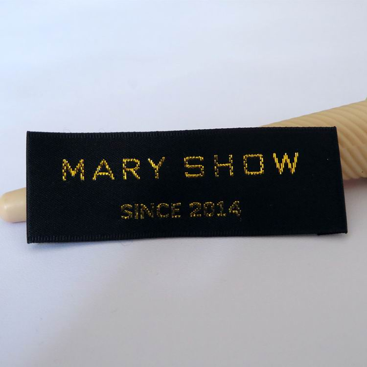 Wood Shuttle Black Satin With Gold Threads Labels